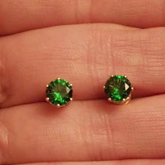 Accessories Gold Plated Emerald Green Stud Earrings Poshmark